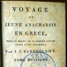 Libros antiguos: VOYAGE DU JEUNE ANACHARSIS EN GRÈCE. 2 TOMOS DE 1810. ATENEU DE MANRESA. Lote 129314723
