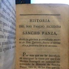 Libros antiguos: HISTORIA DEL MAS FAMOSO ESCUDERO SANCHO PANZA HASTA EL ULTIMO DIA Y POSTRERA HORA DE SU VIDA 1793. Lote 131184720