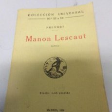 Libros antiguos: MANON LESCAUT ABATE PREVOST 1919. Lote 166029482