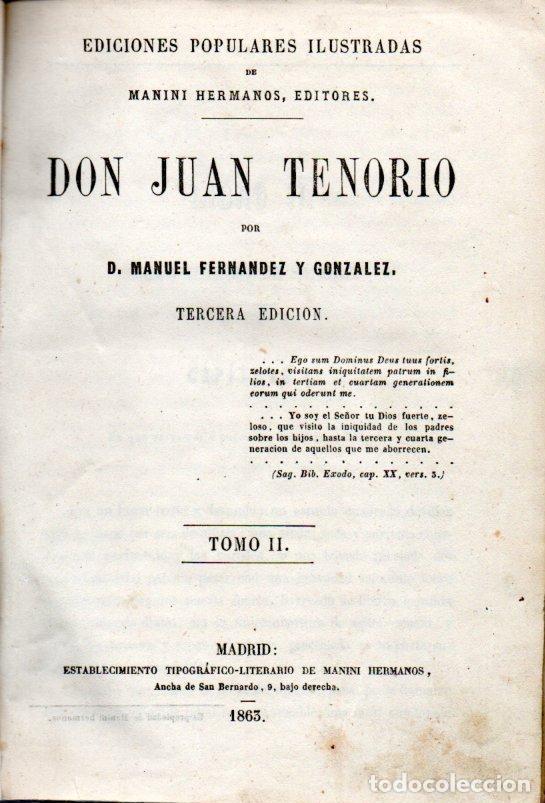 Libros antiguos: MANUEL FERNÁNDEZ Y CONZÁLEZ . DON JUAN TENORIO TOMO II (MANINI, 1963) - Foto 3 - 170207356