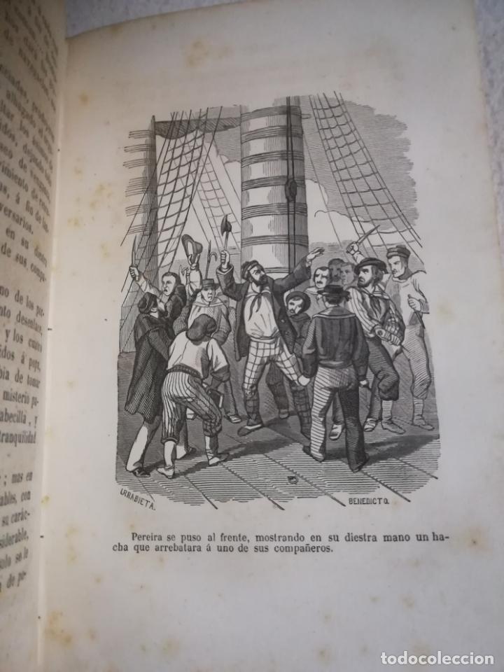 Libros antiguos: EL MILANO DE LOS MARES. ALEJANDRO BENISIA. 4 TOMOS EN 2 VOLUMENES. 1855. SEVILLA. VER GRABADOS. LEER - Foto 17 - 181863553