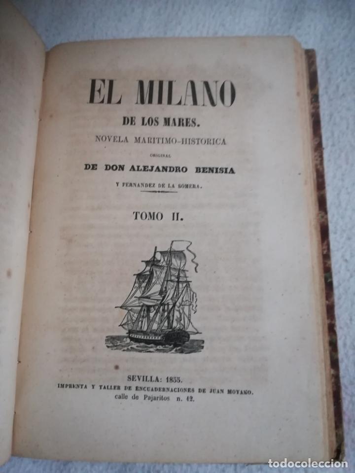 Libros antiguos: EL MILANO DE LOS MARES. ALEJANDRO BENISIA. 4 TOMOS EN 2 VOLUMENES. 1855. SEVILLA. VER GRABADOS. LEER - Foto 19 - 181863553