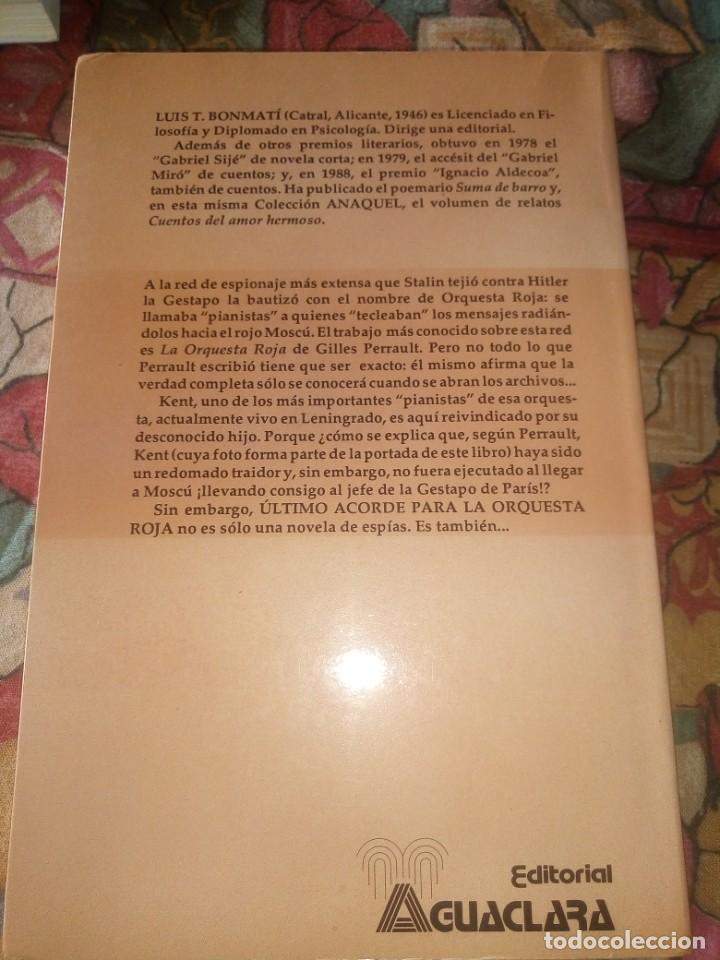 Libros antiguos: Último acordé para la orquesta Roja - Luis Y. Bonmati - 1ª Edición 1990 - Foto 2 - 194209162