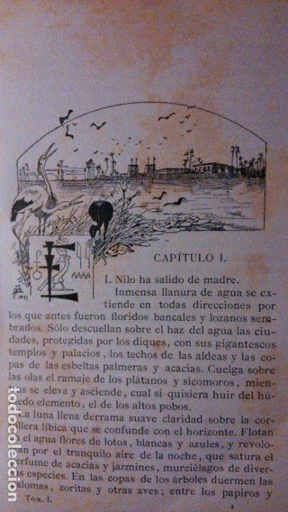 Libros antiguos: LA HIJA DEL REY DE EGIPTO- JORGE EBERS- DIBUJOS A PLUMA APELES MESTRES - 1881- TOMOS I Y II - Foto 7 - 195337812