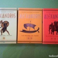 Libros antiguos: ALEXANDROS. VALERIO MAXIMO MANFREDI. TRILOGÍA 3 TOMOS.. Lote 200300912