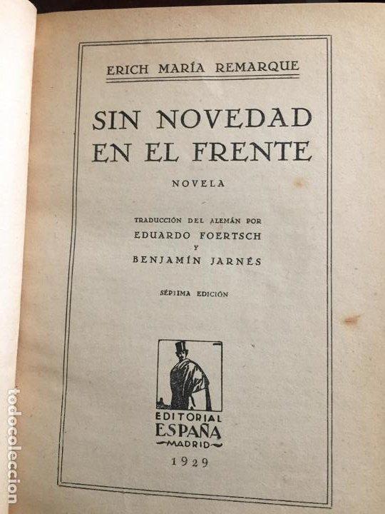 SIN NOVEDAD EN EL FRENTE ERICH MARIA REMARQUE (Libros antiguos (hasta 1936), raros y curiosos - Literatura - Narrativa - Novela Histórica)