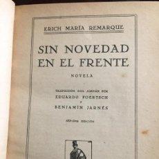 Libros antiguos: SIN NOVEDAD EN EL FRENTE ERICH MARIA REMARQUE. Lote 208673755