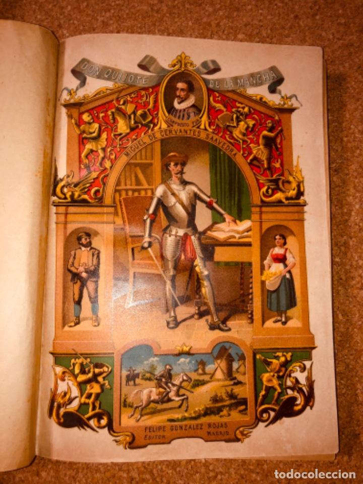 Libros antiguos: DON QUIJOTE DE LA MANCHA - 34 cm - 2 Tomos - Edición Felipe González Rojas, 1887 - Láminas Color - Foto 3 - 217581656