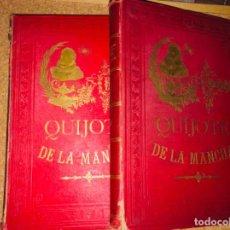 Libros antiguos: DON QUIJOTE DE LA MANCHA - 34 CM - 2 TOMOS - EDICIÓN FELIPE GONZÁLEZ ROJAS, 1887 - LÁMINAS COLOR. Lote 217581656