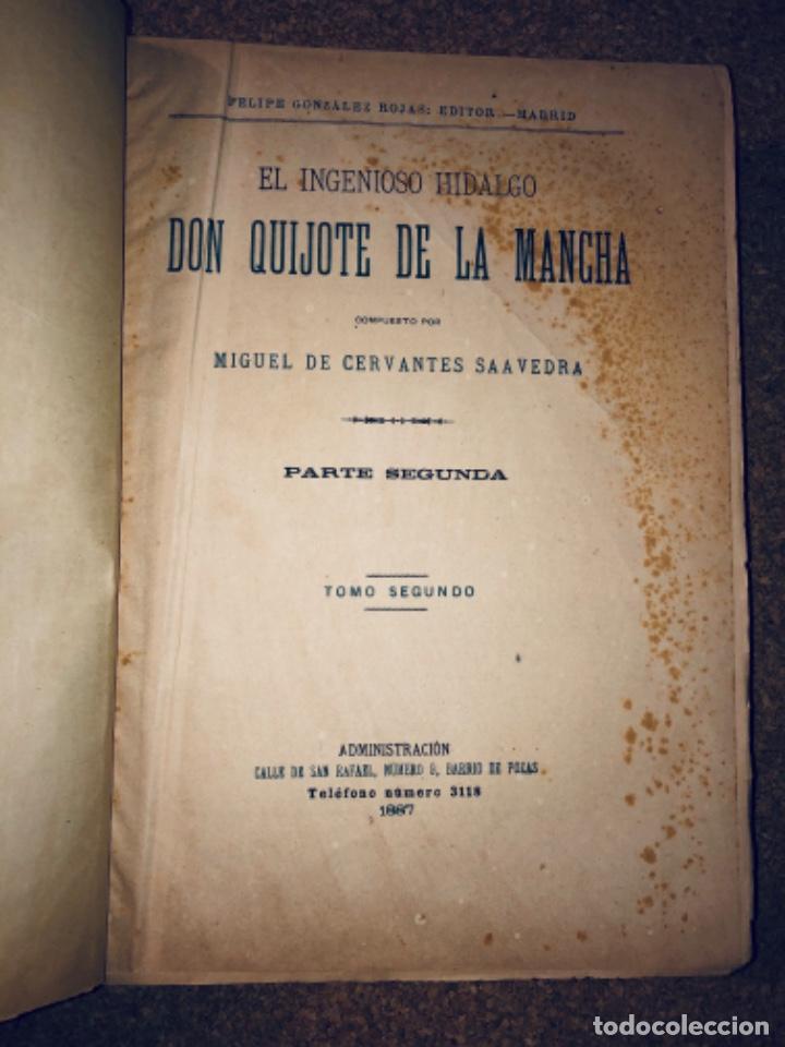 Libros antiguos: DON QUIJOTE DE LA MANCHA - 34 cm - 2 Tomos - Edición Felipe González Rojas, 1887 - Láminas Color - Foto 10 - 217581656