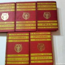 Libros antiguos: 5 TOMOS CON LA CUARTA SERIE COMPLETA DE EPISODIOS NACIONALES BENITO PÉREZ GALDÓS.PRIMERA EDICIÓN. Lote 244952960