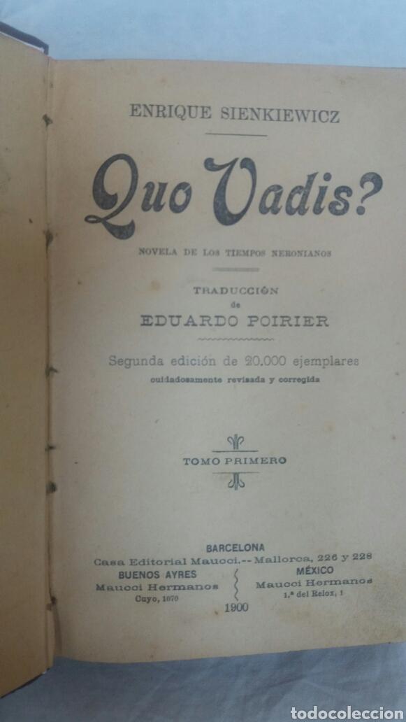Libros antiguos: Quo vadis editado en el año 1900 - Foto 2 - 252768460