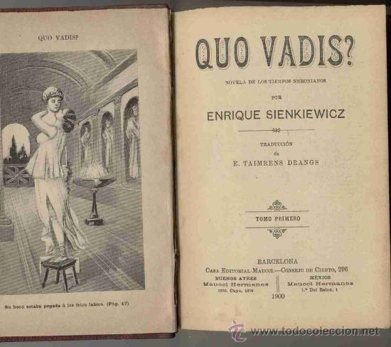 QUO VADIS? TOMO I / 1900 (Libros antiguos (hasta 1936), raros y curiosos - Literatura - Narrativa - Novela Romántica)