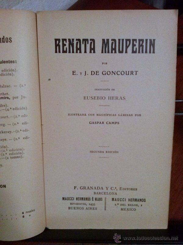 Libros antiguos: E. DE GONCOURT. RENATA MAUPERIN. 1908 - Foto 2 - 39931406