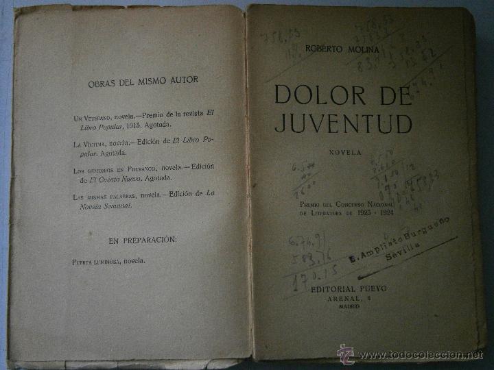 Libros antiguos: DOLOR DE JUVENTUD ROBERTO MOLINA PUEYO 1924 - Foto 5 - 41373610