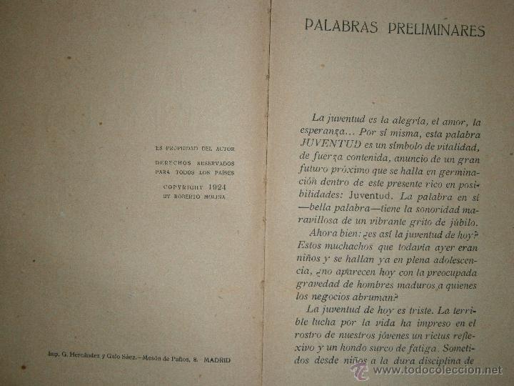 Libros antiguos: DOLOR DE JUVENTUD ROBERTO MOLINA PUEYO 1924 - Foto 6 - 41373610
