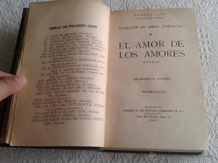 Libros antiguos: EL MAR DE LOS AMORES. RICARDO LEON. AÑOS 1931 LIBRERIA Y CASA EDITORIAL HERNANDO - Foto 3 - 44002953