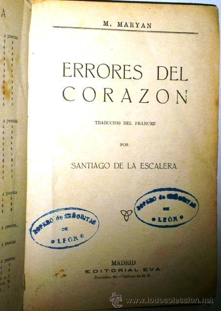 Libros antiguos: Errores del corazón por M. Maryan de Editorial Eva en Madrid s/f (1900) - Foto 3 - 48467051