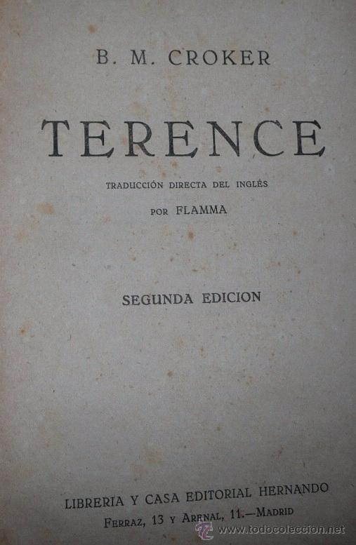 Libros antiguos: Terence - B. M. Croker (Casa Editorial Hernando) - Foto 2 - 52735693