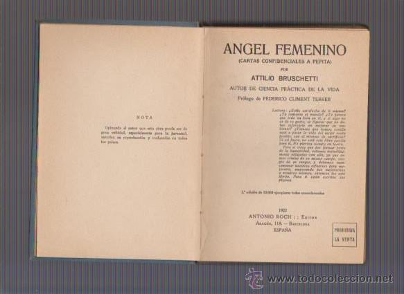 Libros antiguos: ATTILIO BRUSCHETTI - ÁNGEL FEMENINO - ANTONIO ROCH, EDITOR 1922 / BARCELONA - Foto 2 - 54940771