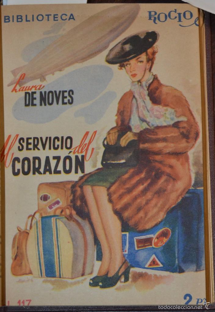 Libros antiguos: VOLUMEN ENCUADERNADO EN MOIRE CON 7 NOVELAS ROMANTICAS BIBLIOTECA ROCIO. BETIS AÑOS 1936 A 46. TAPAS - Foto 6 - 56158965