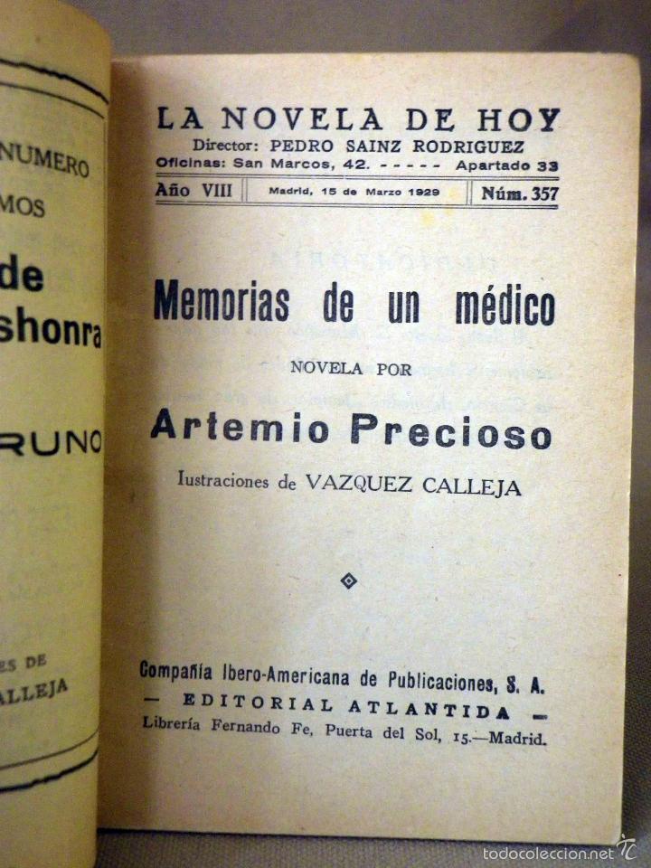 Libros antiguos: LA NOVELA DE HOY, Nº 357, ED. ATLANTIDA, MEMORIAS DE UN MEDICO, ARTEMIO PRECIOSO, MADRID 1926 - Foto 2 - 56429434