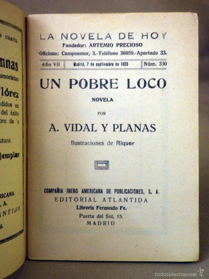 Libros antiguos: LA NOVELA DE HOY, Nº 330, ED. ATLANTIDA, UN POBRE LOCO, VIDAL Y PLANAS, MADRID 1928 - Foto 2 - 56429905