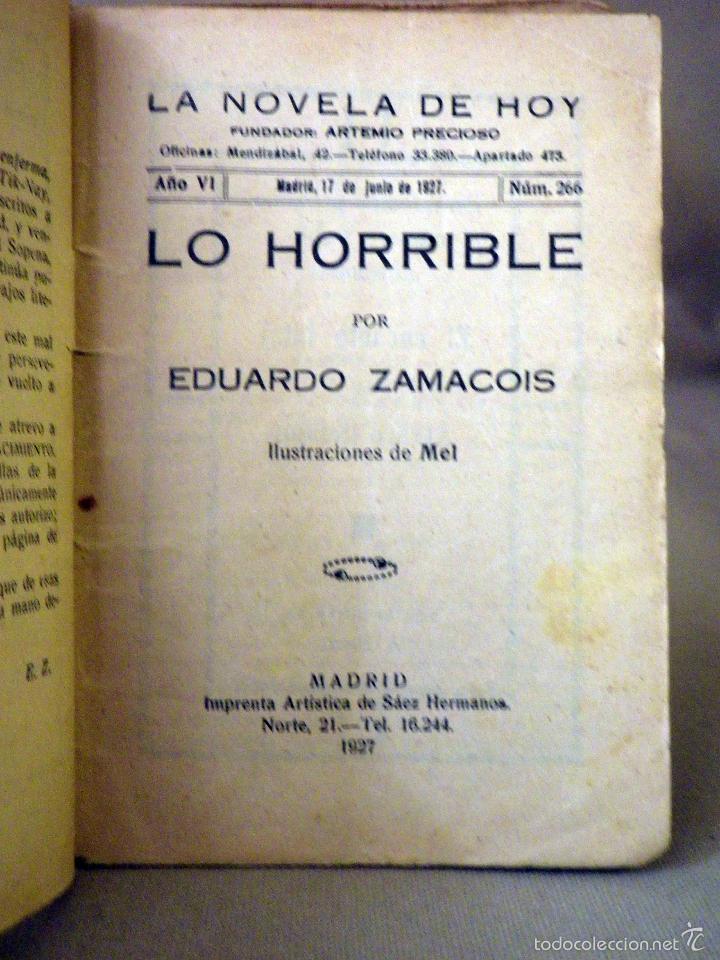 Libros antiguos: LA NOVELA DE HOY, Nº 266, ED. ATLANTIDA, LO HORRIBLE, EDUARDO ZAMACOIS, MADRID 1927 - Foto 2 - 56453112