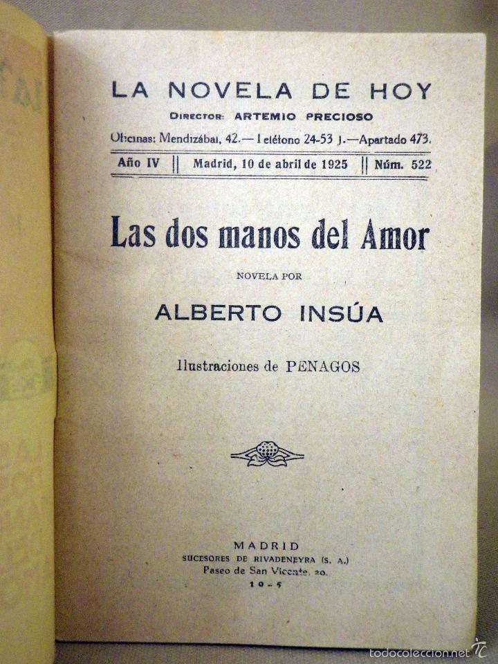 Libros antiguos: LA NOVELA DE HOY, Nº 522, ED. ATLANTIDA, LAS DOS MANOS DEL AMOR, ALBERTO INSUA, MADRID 1925 - Foto 2 - 56454608