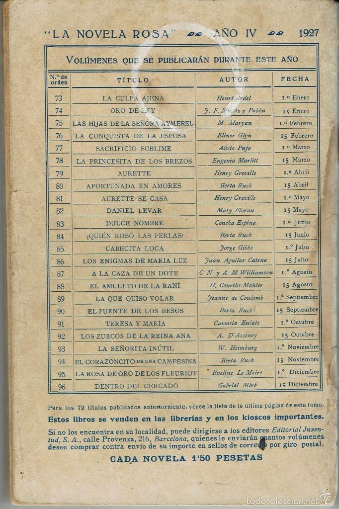 Libros antiguos: LOS ENIGMAS DE MARÍA LUZ, DE JUAN AGUILAR CATENA. LA NOVELA ROSA Nº 86. AÑO 1927 (AP) - Foto 2 - 57537634
