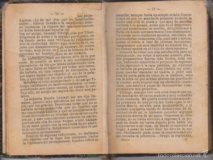Libros antiguos: ABATE PRÉVOST - HISTORIA DE MANÓN LESCAUT Y EL CABALLERO DE GRIEUX - TR. PEDRO CLAVIJO - MAUCCI 1899 - Foto 3 - 59142475