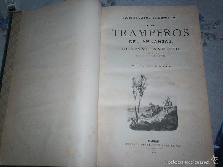 Libros antiguos: Los tramperos por Gustavo Aymard editores Gaspar y Roig 1874 con grabados - Foto 2 - 210015128