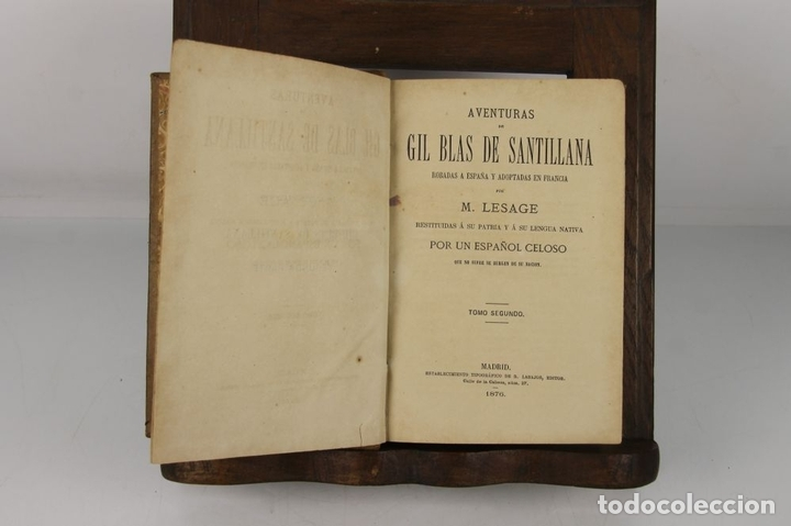 Libros antiguos: 4889- AVENTURAS DE GIL BLAS DE SANTILLANA. M. LASAGE. TIP. R. LABAJOS. 1876 2 VOL. - Foto 2 - 43908206