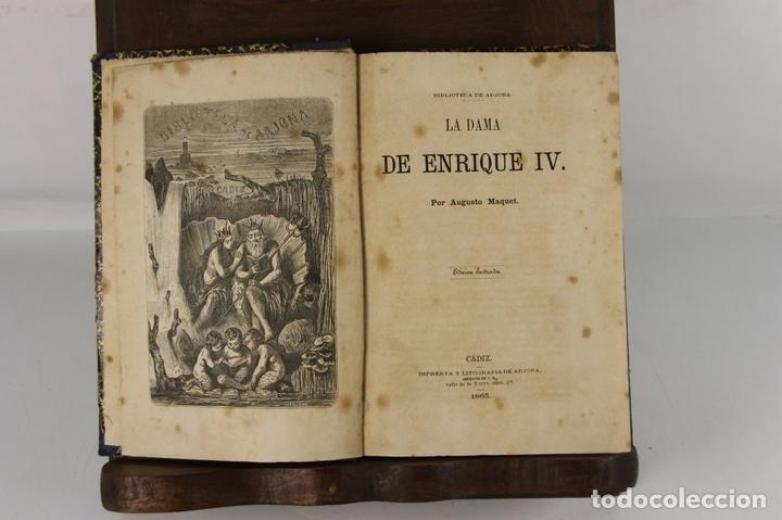 Libros antiguos: 5109- LA DAMA DE ENRIQUE IV. AUGUSTO MAQUET. LIT. ARJONA. 1863. 2 VOL. - Foto 5 - 45095778