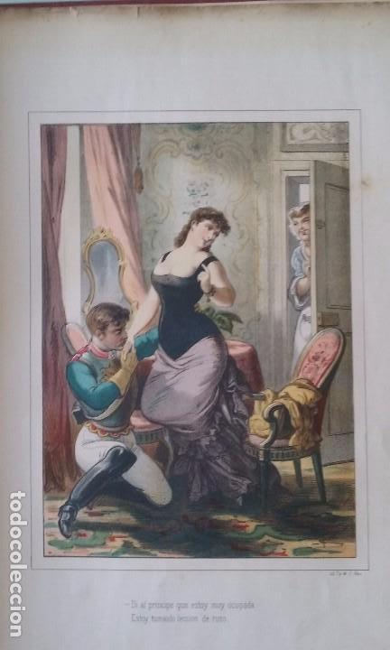 Libros antiguos: HISTORIA DE UNA MUJER ALBUM 50 CROMOS 43X31 CM POR D. EUSEBIO PLANAS 1880 - Foto 5 - 85916536