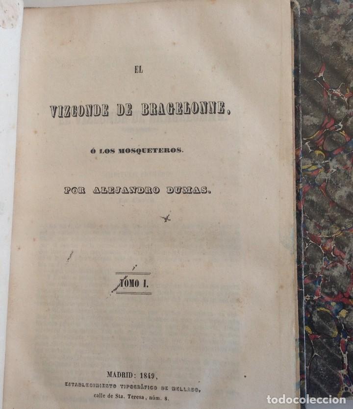 Libros antiguos: Madrid 1849 * Los 3 mosqueteros y La Mascara de hierro * VIZCONDE DE BRAGELONNE * * 4 volúmenes - Foto 8 - 87638432