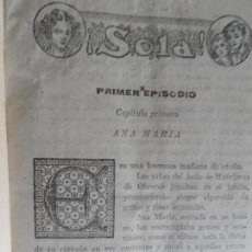 Libros antiguos: !SOLA¡ FOLLETIN - MARIO D'ANCONA (PSEUDÓNIMO) DOS TOMOS AÑOS 30 3833 PAGINAS . Lote 121660251