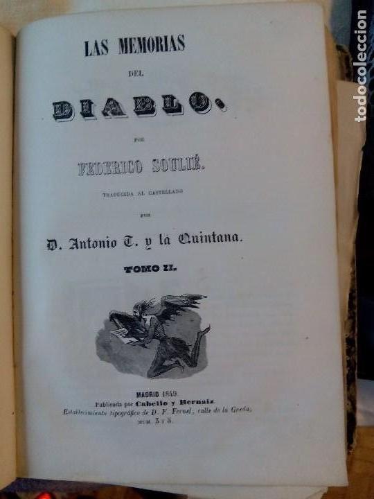 LAS MEMORIAS DEL DIABLO, F. SOULIÉ, 1849 (Libros antiguos (hasta 1936), raros y curiosos - Literatura - Narrativa - Novela Romántica)