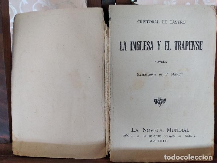 Libros antiguos: 1926, La Inglesa y el Trapense, Cristobal de Castro, La Novela Mundial, Madrid - Foto 3 - 132939446