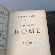 Libros antiguos: LIBRO CE QUE J'AI VU A ROME 1920. Lote 133216214