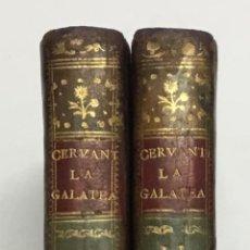 Libros antiguos: LOS SEIS LIBROS DE GALATEA, ESCRITA POR ... DIVIDIDA EN DOS TOMOS CORREGIDA E ILUSTRADA... CERVANTES. Lote 142425445