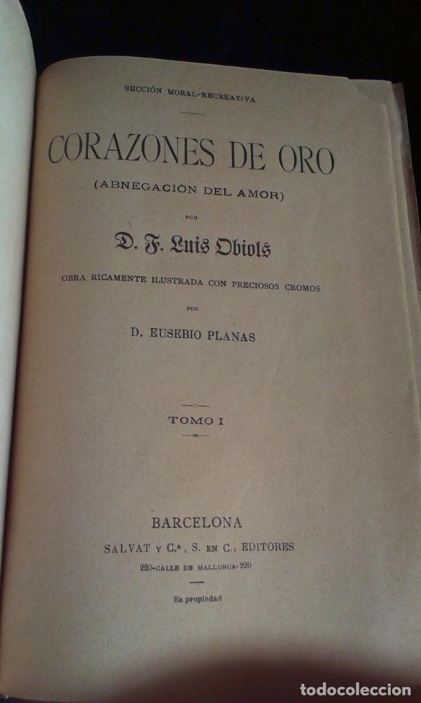 Libros antiguos: CORAZONES DE ORO – D.F. LUIS OBIOLS - S XIX - Foto 5 - 145772014