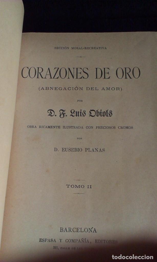 Libros antiguos: CORAZONES DE ORO – D.F. LUIS OBIOLS - S XIX - Foto 6 - 145772014