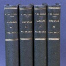 Livros antigos: AVENTURAS ROCAMBOLE HAZAÑAS PONSON DU TERRAIL IMP FE SIN FECHA 4 TOMOS EX LIBRIS FAMILIA WEYLER. Lote 152771470