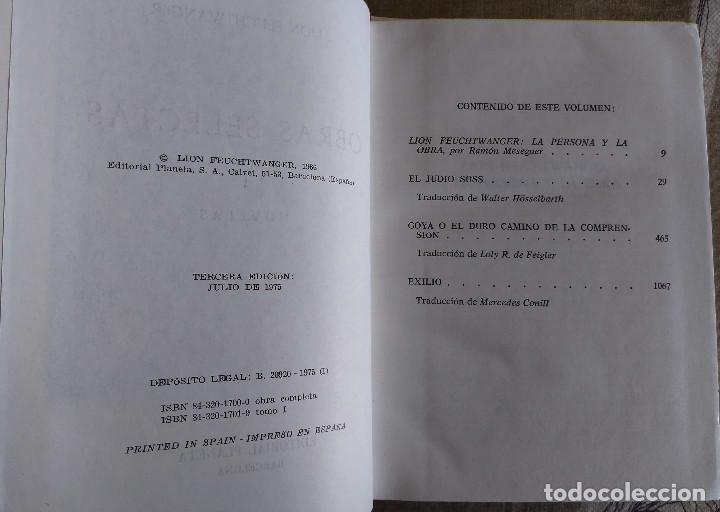 Libros antiguos: LION FEUCHTWANGER. OBRAS SELECTAS.TOMO I. NOVELAS.1911 PAG. GUAFLEX, PLANETA, 1975. - Foto 3 - 153058122