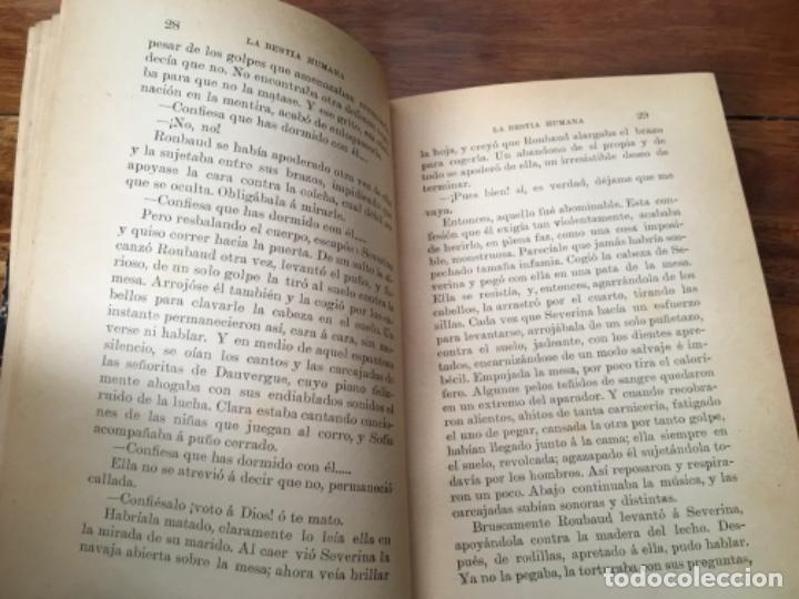 Libros antiguos: LA BESTIA HUMANA, DE EMILIO ZOLA. VOLUMEN I, 1897 - Foto 6 - 160285150