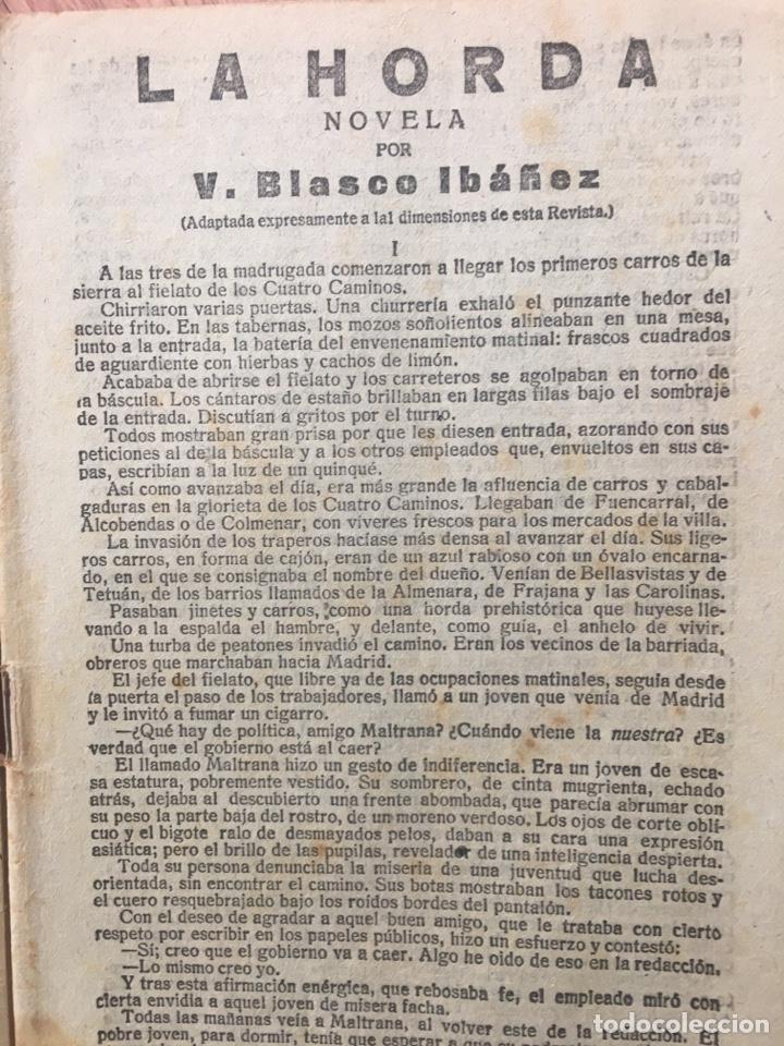 Libros antiguos: LA NOVELA CORTA. LA HORDA ( VICENTE BLASCO IBAÑEZ ) Nº 139 . AÑO 1918. ORIGINAL - Foto 4 - 174372738
