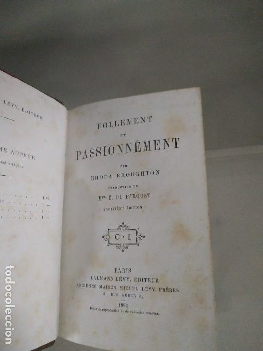 Libros antiguos: Follement et Passionnément - R. Broughton. 1882. En francés. Muy raro. - Foto 3 - 183231695