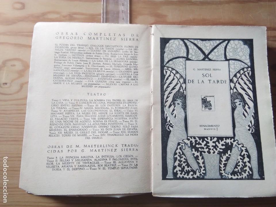 Libros antiguos: Novela 1930: EL SOL DE LA TARDE, de C.Martínez Sierra - Foto 2 - 199996150