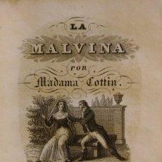 Libros antiguos: LA MALVINA, DE M. COTTIN. BARCELONA, 1837, TOMO 2. Lote 235196930